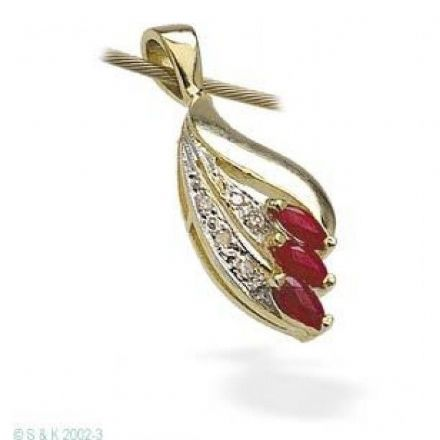 9K Gold 4mm x 2mm Ruby Pendant, Z1064